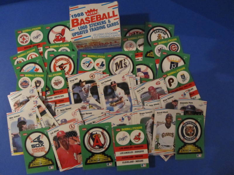 1988 Fleer Baseball 22 Logo Stickers & 132 Trading Cards