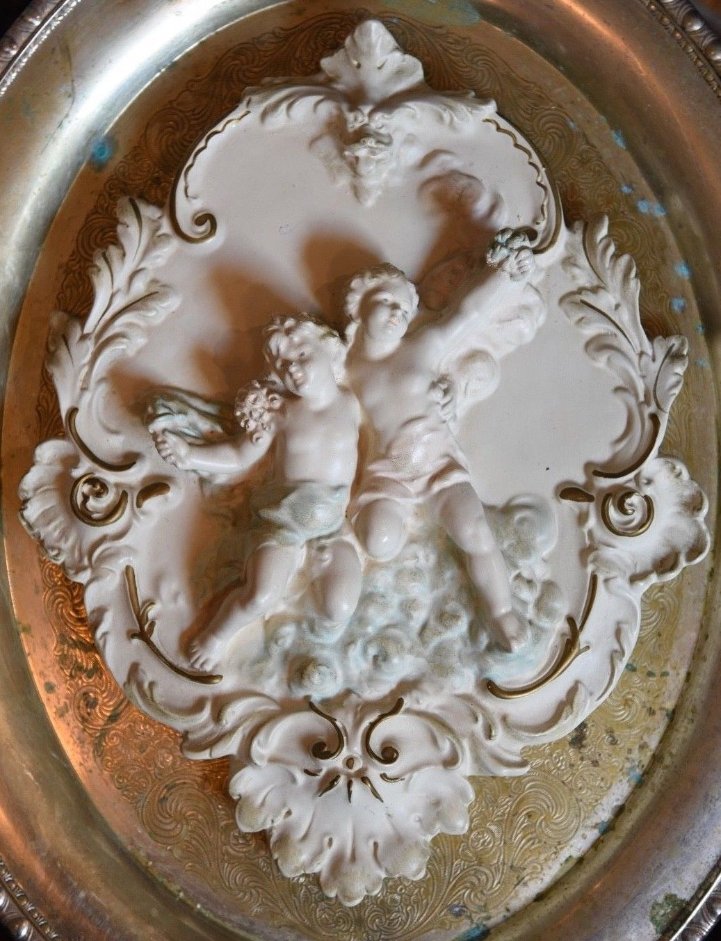"Cherubs Angel Cupid Greek Wall Sculpture Plaque DRESDEN STYLE WHITE GOLD 11.5""H"