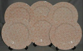 Set (6) Fitz and Floyd ORIENTAL GEOMETRIC PATTERN - PEACH COLOR Dinner P... - $118.79