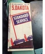 vintage Road Map transportation travel STANDARD GAS OIL 1940 South Dakot... - $19.99
