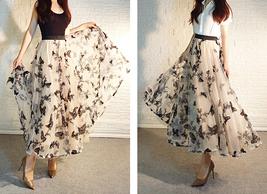 Black Champagne Tulle Skirt Evening Maxi Skirt Tulle Prom Skirt Plus Size image 7