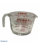 Pyrex Corning 4 Cup 1 Quart Measuring Glass Cup Open Handle Red Letters 532 - $19.64