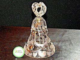 Heavy etched glass Bell with hearts AA19-LD11915 Vintage image 7