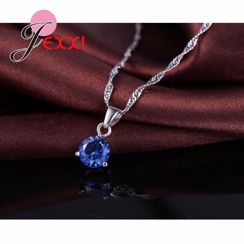 JEXXI 925 Sterling Silver Classic Necklace & Earrings Set - Ladies / Women's, CZ