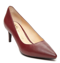 NEW NINE WEST WINE RED LEATHER POINTY LOW HEEL PUMPS  8.5 M $79 - $32.91