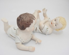 """Piano Baby Babies Porcelain Bisque Pair Boy and Girl Small 6"""" Long Figur... - $24.74"""