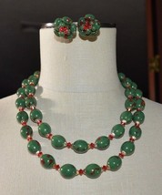 VTG HONG KONG Gold Tone Christmas Green Red Speckled Celluloid Necklace ... - $49.50