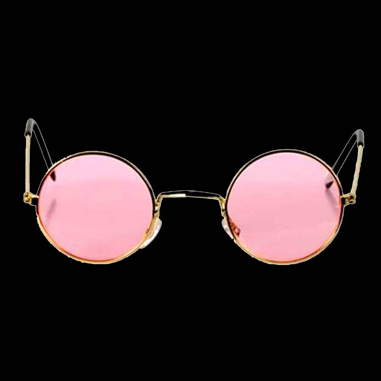Groovy Hippie Funky Novelty ROUND COSTUME GLASSES Retro Lennon Gold Frames-PINK