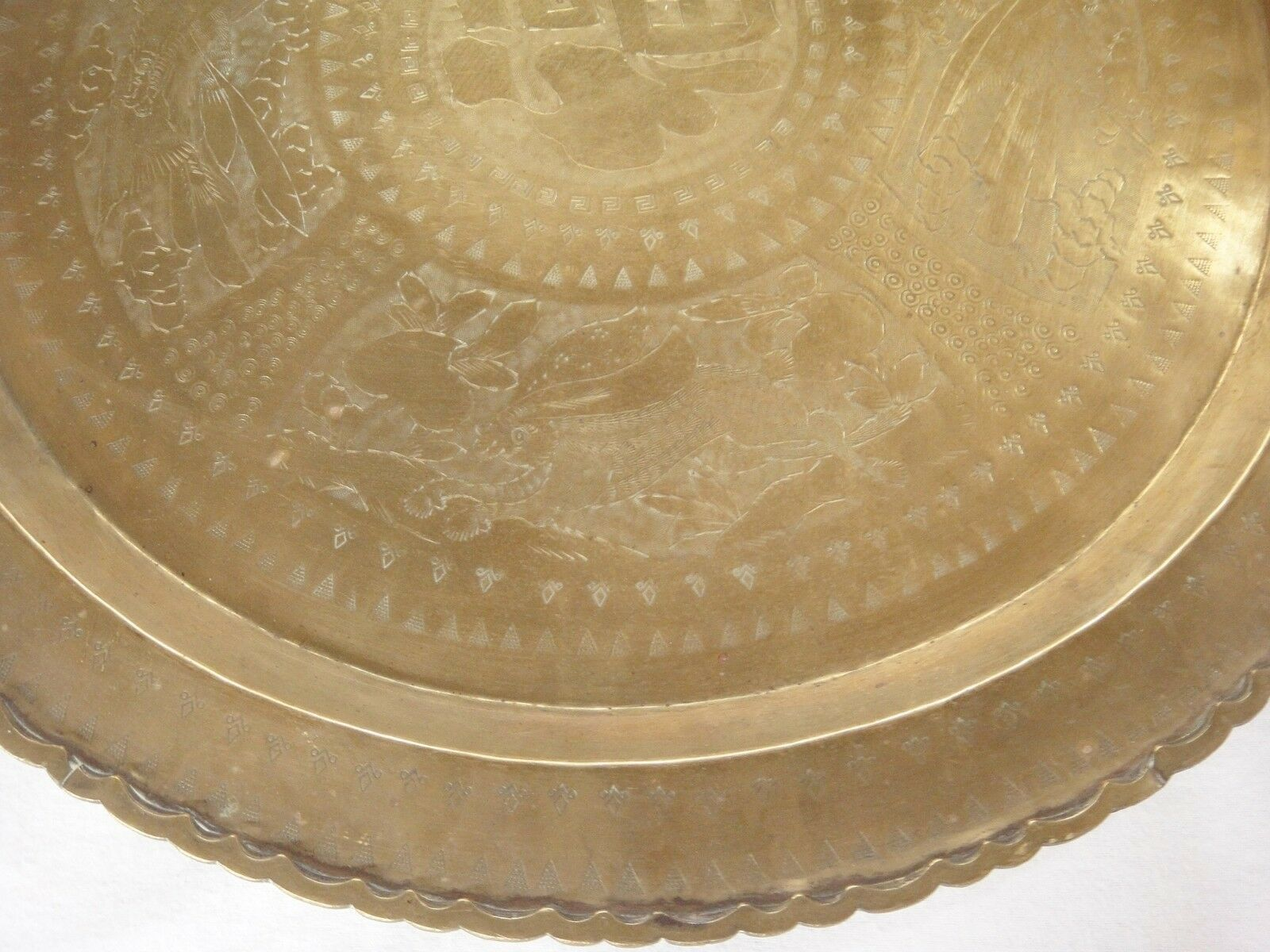 """Huge Brass Asian Tray Centerpiece Charger 22"""" Birds of Prey Rabbit Engraved HTF image 2"""