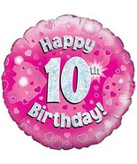 Oaktree 18 Inch Foil Balloon - Happy 10th Birthday Pink Holographic - $5.93