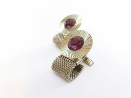 Purple Rhinestone cufflinks Vintage Mens Jewelry Gift for Brother Vintage Cuffli - $22.94