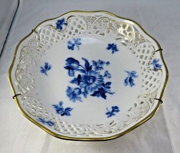 Vintage Schumann Germany pierced porcelain echt cobalt blue flowers tray... - $16.00