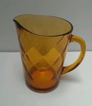 Vintage Hazel-Atlas Amber Gold Optic Diamond 64 Oz (2 Qt) Pitcher Patter... - $7.18