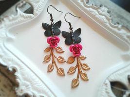 Whimsical Black Butterfly Rose Branch Earrings Nature Earrings Whimsical... - $36.00