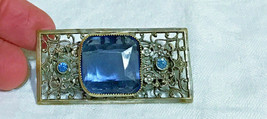 Vintage Czech Blue Glass sterling silver Filigree Brooch Pin 1920s 30s - $75.66