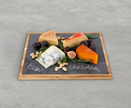 Rustic Cheese Board, Large Wood Bound Slate Serving Elegant Cheese Boards - $61.49