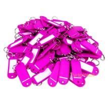 (Lot of 100) Key ID Tags Labels Keychain Split Key Ring Name Tag Fuchsia... - $8.89