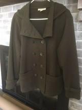 Coldwater Creek Detachable Hood Jacket Olive Green PXL 2 pockets belt tr... - $16.98