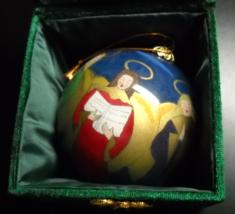 Six Angel Chorus Christmas Ornament Hand Painted Reverse Original Box - $8.99