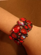 Vintage Red Crystal Chunky Stretch Bracelet Rare And Unique. - $24.74