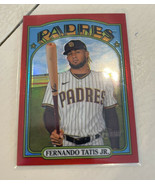 FERNANDO TATIS JR. 2021 Topps Heritage Red Refractor 130/372 Padres HOT - $173.24