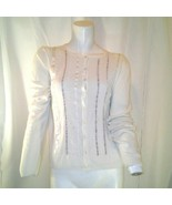 Marks & Spencer Womens Off White Beaded Cardigan Sweater US Size 10 UK S... - $29.69