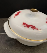 Vintage 50s Fire King Red Dragon 1.5qt casserole with lid image 3