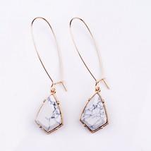 SEVENSTONE Fashion Geometric Gold Howlite Drop Earrings for Women White ... - $8.68