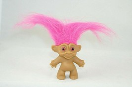 TROLL Doll Figure Pink Hair Pink Eyes Made in China Unmarked Vintage 2.5... - $6.43