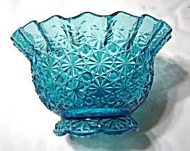 Vintage L.E.Smith Aqua Turquoise Blue Daisy and Button Glass Ruffled Ro... - $22.99
