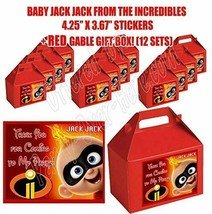INCREDIBLES Movie Jack Party Favor Boxes Thank you Decals Stickers Party... - $24.70
