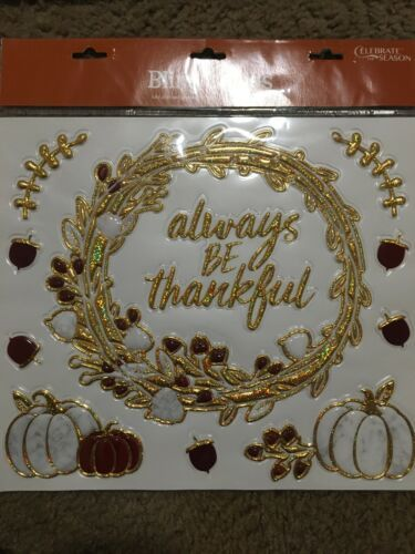 Primary image for FALL Season Bling Clings Celebrate The Season Pumpkins Acorns Gold/marble —389