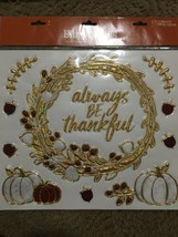 FALL Season Bling Clings Celebrate The Season Pumpkins Acorns Gold/marbl... - $18.29