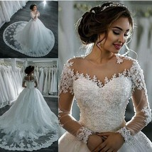 Wedding Dresses Long Sleeve Boat Neck Button Appliques Ribbon Ball Gown - $499.99