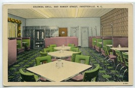 Colonial Grill Restaurant Interior Fayetteville North Carolina postcard - $6.44