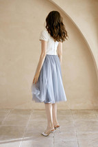 Rose Pink Gray White Tulle Midi Skirt High Waisted Tulle Bridesmaid Midi Skirt image 6
