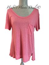 NWT $74 SPLENDID Coral Pink Slub Jersey Scoop Neck Pocket Tee Shirt Top ... - $24.89