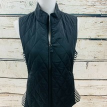 Talbots Women's Vest Black White Striped Front Zip Quilted Small - $16.82