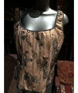 Vintage Black Lace Tan Stretch Gothic Size S Corset Bustier Top - $39.60