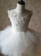 WHITE Lace Tutu High Waist Dress White Knee Length Wedding Flower Girl Dress NWT image 5