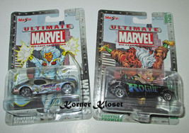 "Lot of 2 Maisto Ultimate Marvel Series 1 Cars - ""Storm #5 & Rogue #7 "" -... - $16.40"