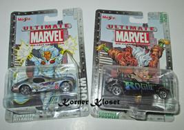 "Lot of 2 Maisto Ultimate Marvel Series 1 Cars - ""Storm #5 & Rogue #7 "" - NIP - $16.40"