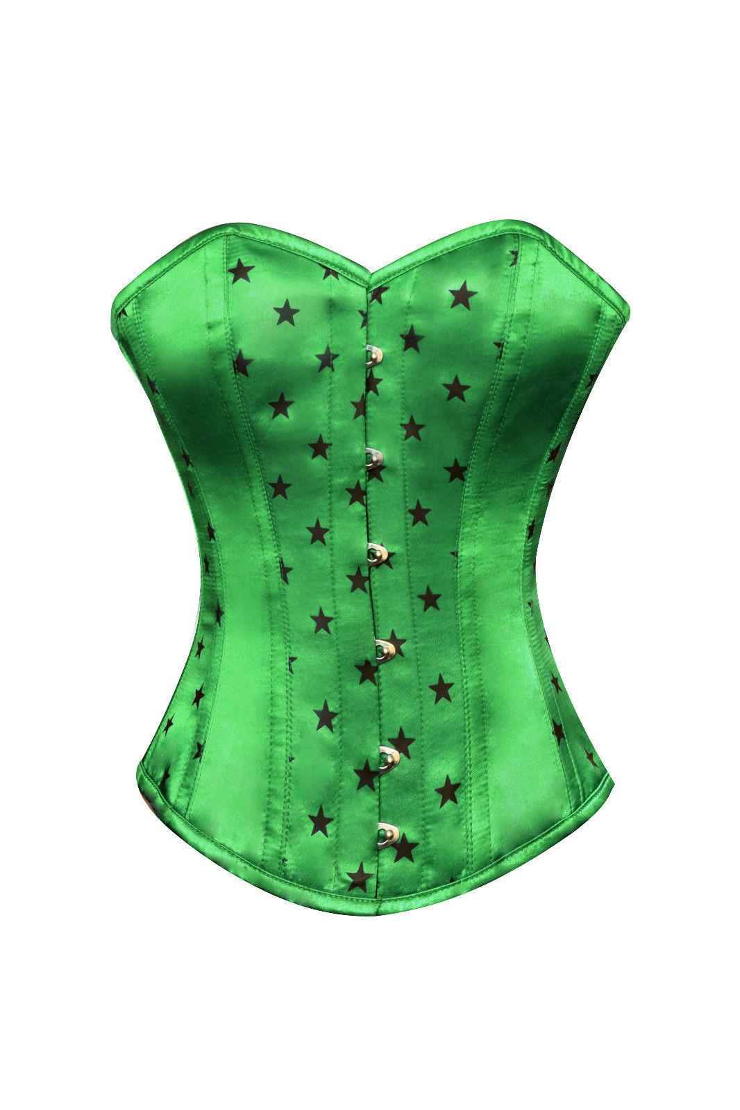 Green Satin Black Stars Print Burlesque Waist Shaper Bustier Overbust Corset Top