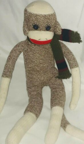 "Sock Monkey 20"" Plush Doll Brown Scarf"
