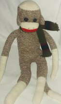 "Sock Monkey 20"" Plush Doll Brown Scarf - $22.53"