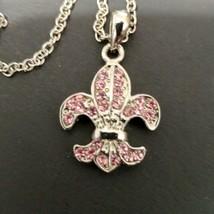 "Fleur De Lis Pendant Necklace Pink Genuine Crystal Adj 15"" - 18"" Cookie Lee  - $8.91"