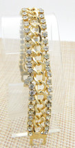 Clear Rhinestone Chain Link Gold Tone Bracelet Vintage - $24.74