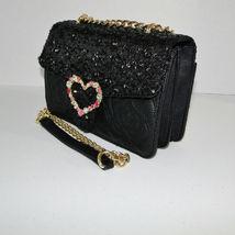 Betsey Johnson Sequin Jeweled Heart Flap Shoulder Bag image 3