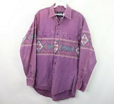 Vtg 80s Wrangler Mens 15.5 34 Distressed Southwestern Navajo Print Cowbo... - $39.55
