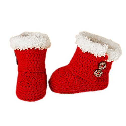 Baby Handmade Crochet Shoes Knit Winter Sock Keepsake Gift 11CM Christmas Red